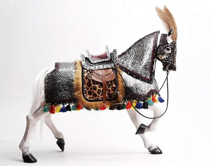 IQO Model Horse With Silver Armor 1/6 Scale
