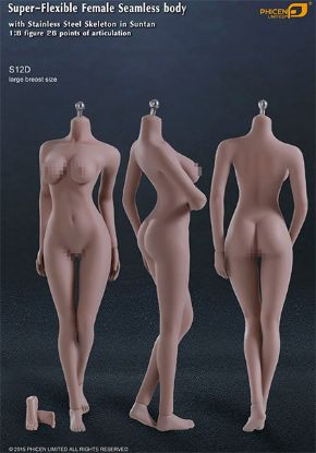Phicen Limited Super Flexible Female Seamless Large Breast Body with Stainless Steel Skeleton in Suntan